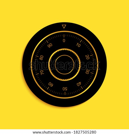 Black Safe combination lock wheel icon isolated on yellow background. Protection concept. Password sign. Long shadow style. Vector. Stock photo ©