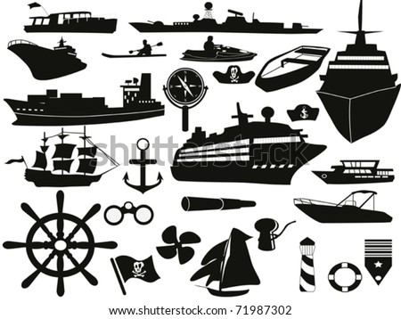 black sailing objects icon set