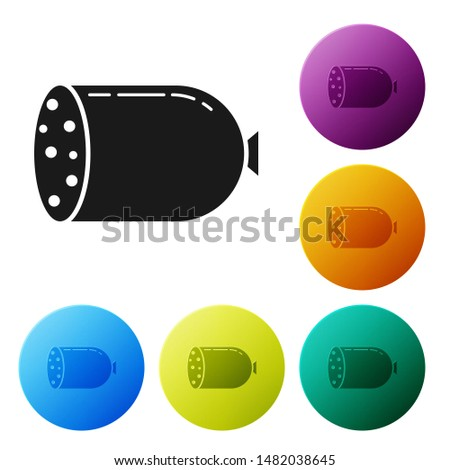 Black Salami sausage icon isolated on white background. Meat delicatessen product. Set icons colorful circle buttons. Vector Illustration