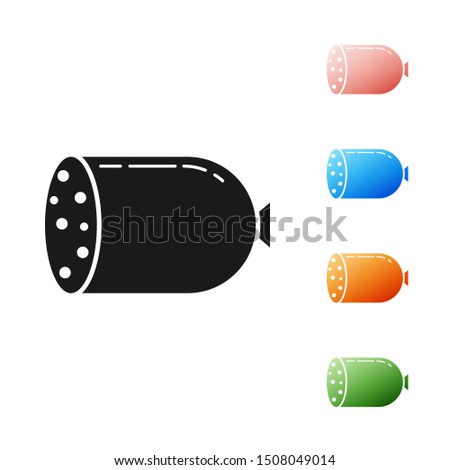 Black Salami sausage icon isolated on white background. Meat delicatessen product. Set icons colorful. Vector Illustration