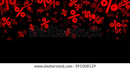 Black sale banner with percent signs. Vector paper illustration.
