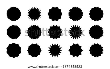 Black sale stickers big set isolated on white background. Promo product labels templates, starburst, sunburst badges. Vector design elements for price tag, quality mark, shop poster, web design, decor
