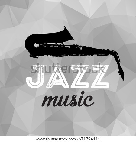 Black Saxophone isolated on Gray Background. Music Concept Sketch Style Vector illustration. Poster, Cover For The Jazz Festival With a Saxophone.