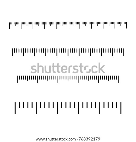Black scale for rulers. Different units of measurement. Vector illustration
