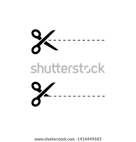 Black Scissors icons with cut lines on white background. Scissors icon. Eps10