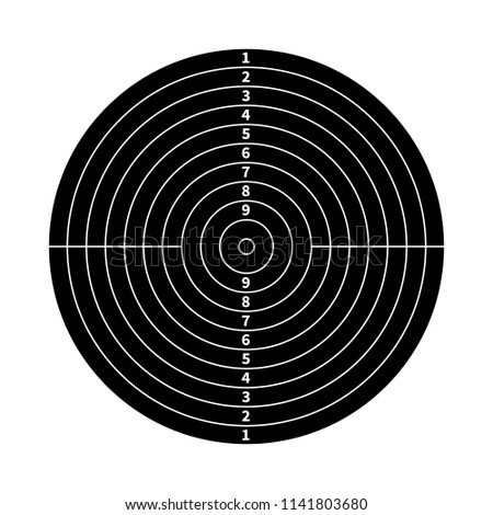 Black score target for shooting practice isolated on white