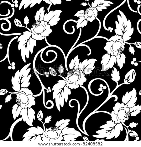 black seamless background with curly white flowers