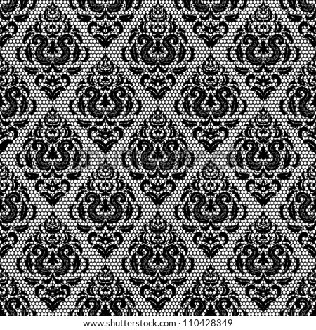 black seamless lace floral pattern on white background
