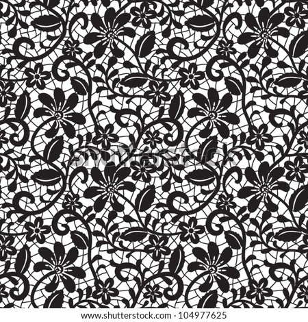 black seamless lace pattern on white background