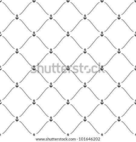 Black seamless pattern with anchor symbol, 10eps.