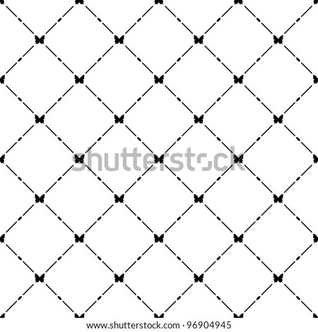 Black seamless pattern with butterfly symbol.