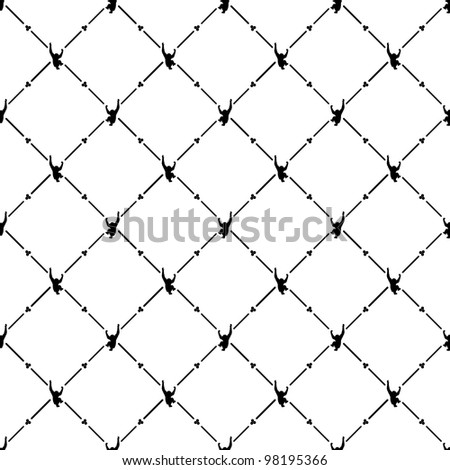 Black seamless pattern with monkey symbol.