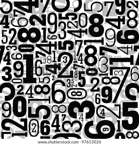 Black seamless pattern with numbers
