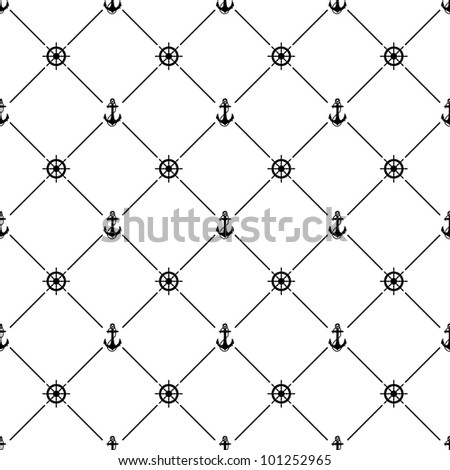 Black seamless pattern with ships wheel and anchor symbol, 10eps.