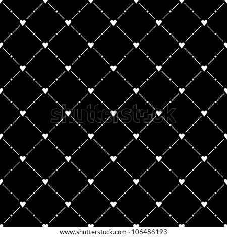 Black seamless pattern with white heart symbol. This vector illustration design elements saved 8 eps