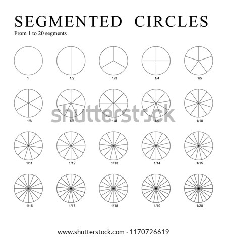 Black segmented circles isolated on a white background. Set of twenty circles divided into segments - from 1 to 20, Vector.