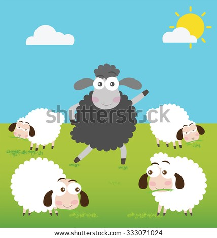 black sheep and white sheep in