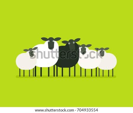 Black sheep in the herd. Vector illustration