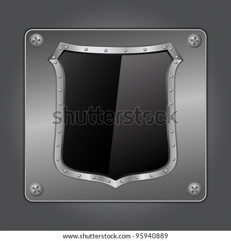 Black shield on metal board, vector eps10 illustration