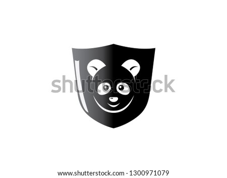 Black shield with panda face in the middle for logo design
