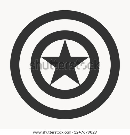 black shield with star isolated