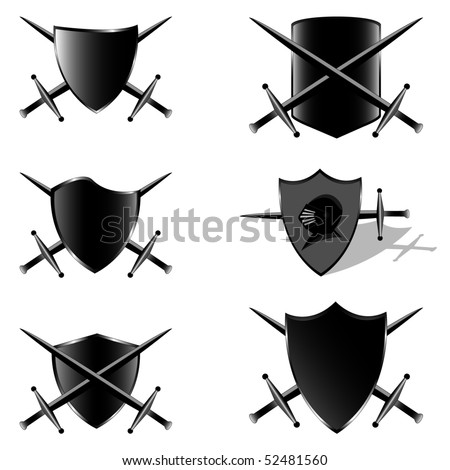 Black shields and swords. Vector illustration