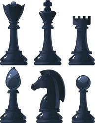 black shiny chess pieces