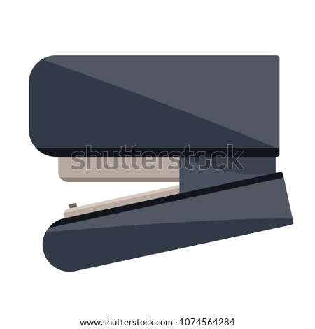 Black shiny plastic metal stapler for paper. School supplies, stationery for study school office. Modern flat cartoons style vector illustration icons. Isolated on white background.