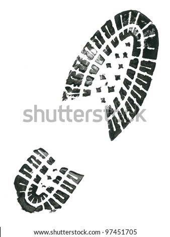Black shoe print.Vector illustration
