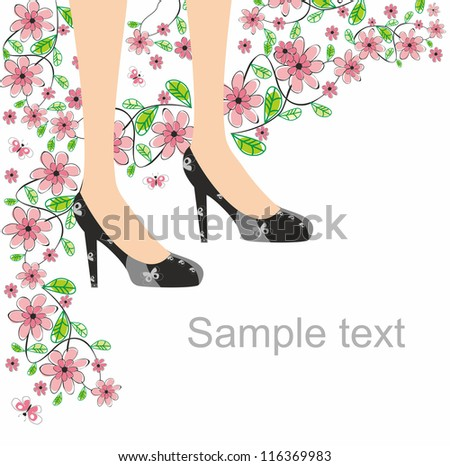 Black shoes butterfly and pink flowers. Editable and scalable vector