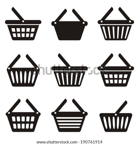 Black shopping basket icons collection on white background