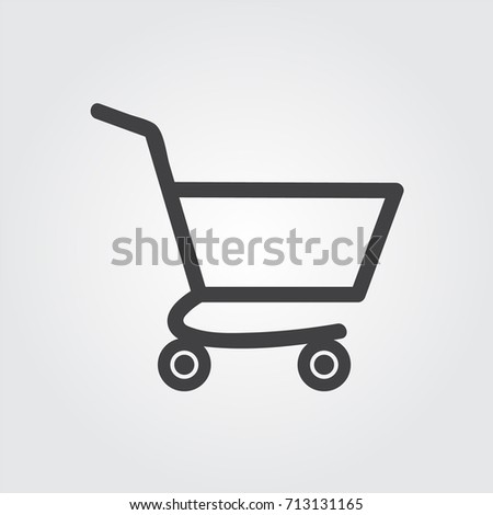 black shopping cart icon, isolated, white background