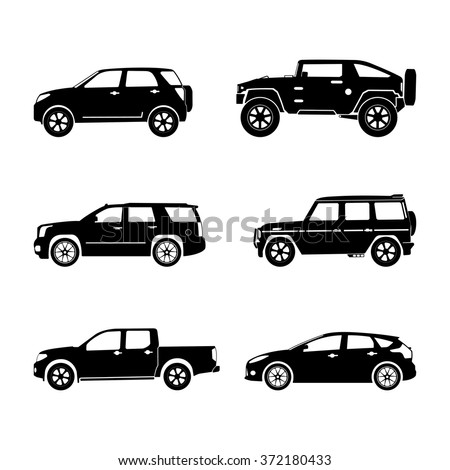 black silhouette cars on white