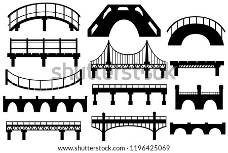 Black silhouette. Collection of different bridges. City architecture flat icon. Vector illustration isolated on white background.