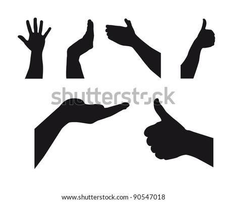 black silhouette hands over white background. vector illustration