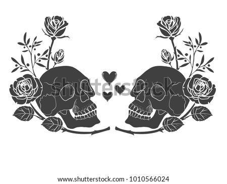 black silhouette human skull