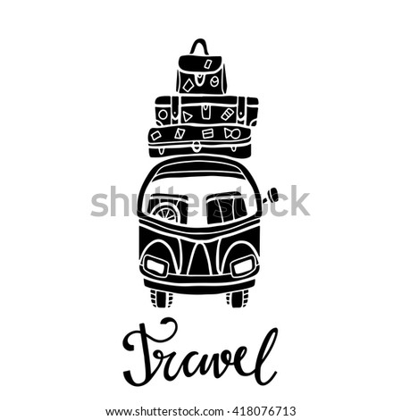 Black silhouette, icon car with luggage, isolated. Calligraphic text travel. Hand drawn #418076713