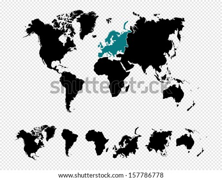 World continents map vector download free vector art stock black silhouette isolated world map focused in europe and other continents eps10 vector file organized gumiabroncs Images