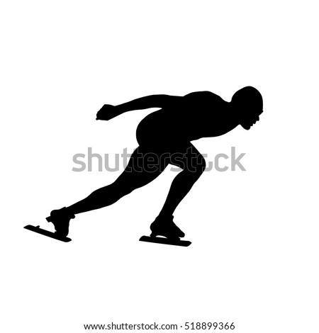 black silhouette man athlete speed skater