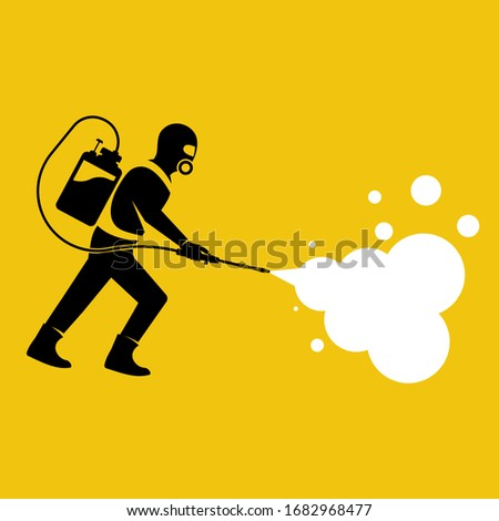 Black silhouette man in hazmat. Protective suit, gas mask and gas cylinder for disinfection coronavirus. Toxic and chemicals protection. Spraying pesticides. Biological precaution. Vector flat design.