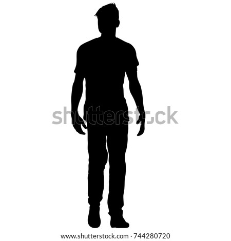 Black silhouette man standing, people on white background.