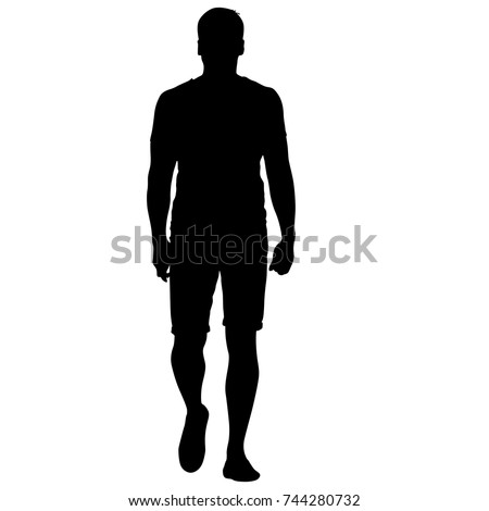 Black silhouette man standing, people on white background. #744280732