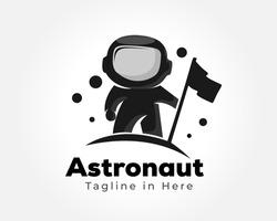 black silhouette mascot astronaut landing with flag logo design illustration inspiration