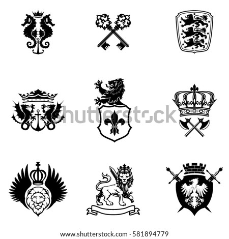 black silhouette mixed heraldry