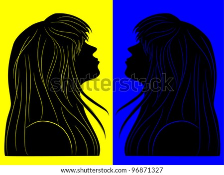 black silhouette of a beautiful girl with long hair in profile
