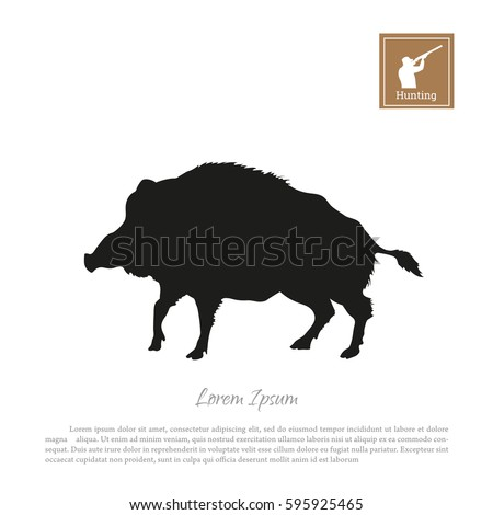 black silhouette of a boar on