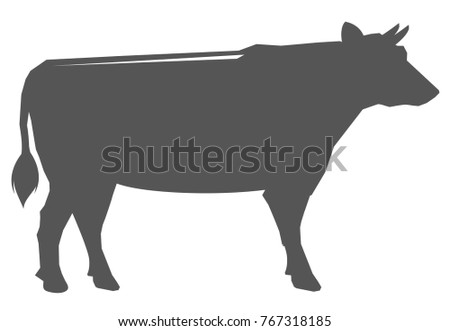 Black silhouette of a cow. Isolated on a white background. Vector illustration.
