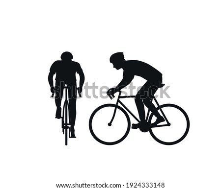 Black silhouette of a cyclist on a white background. Front view and side view. Man on a bicycle in a helmet. Silhouette. Flat vector illustration. Foto d'archivio ©