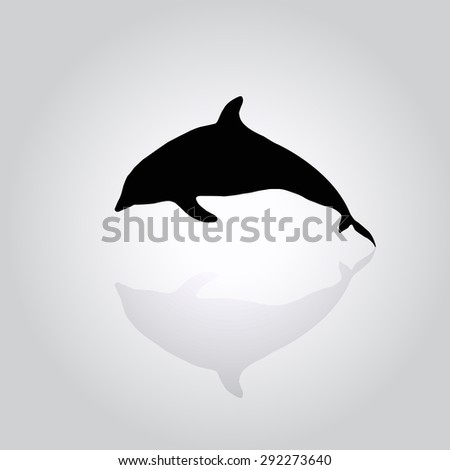 black silhouette of a dolphin