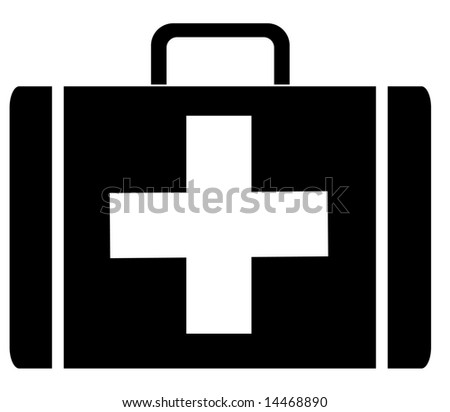 black silhouette of a first aid case - vector illustration